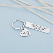 I Love You Keychain Keyring Drive Safe I Need You Here with Me for Couples Men Women Christmas Gift Key Chains
