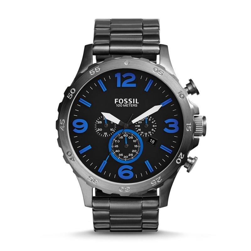 Fossil Nate Chronograph Rauch Edelstahl Uhr Schwarzes Zifferblatt Herren Uhren Top Brand Luxus Armbanduhr JR1478