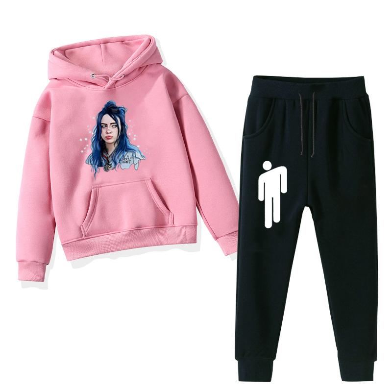Billie Eilish Prints Kids Clothes Full Warm Girls Winter Hoodies Pants 2pcs Sets Teenagers Boys Regular Outfit Baby Tracksuit Nooncart