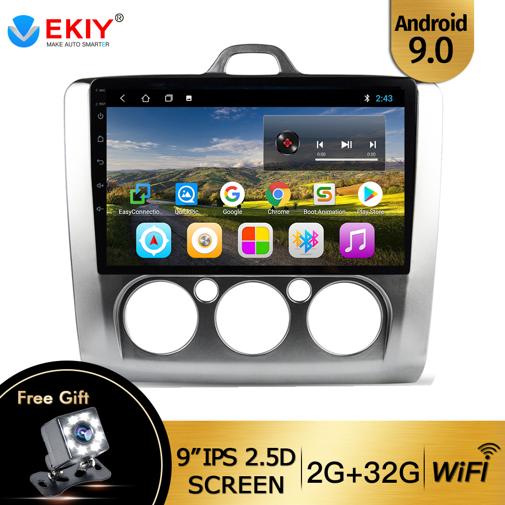 EKIY 9'' IPS Android 9.0 Car Radio DVD for <font><b>Ford</b></font> <font><b>Focus</b></font> 2 3 <font><b>Mk2</b></font>/Mk3 2004-2010 2011 <font><b>Multimedia</b></font> Player Wifi No 2Din BT Tape Recorder image