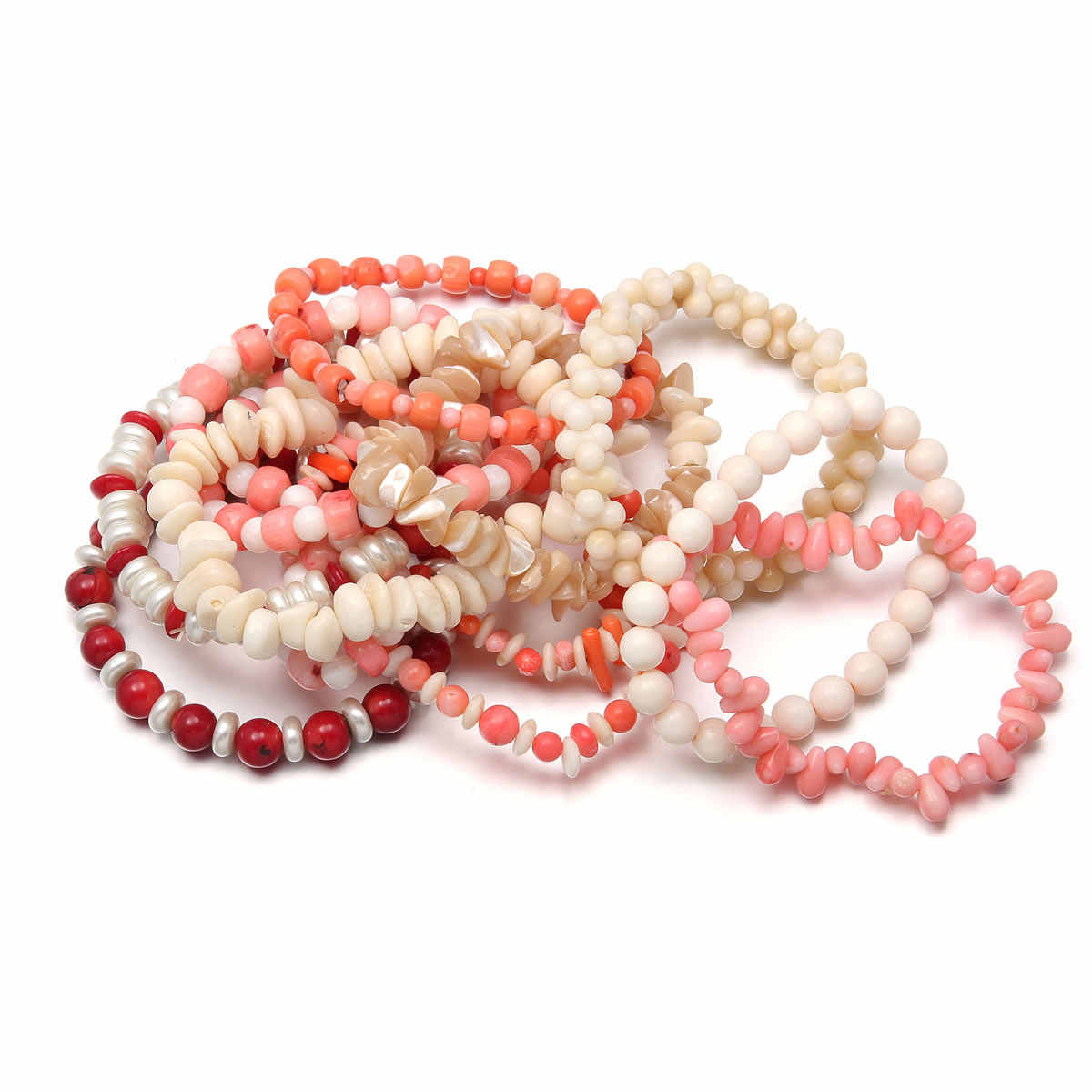 New Fashion Charm Bracelets New Coral Stone Beaded Bracelets for Women Jewelry Coral Beads Jewelry Gifts for Women  18cm