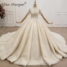 Glitter Short Sleeves Ball Gowns Wedding Dresses for Women Custom Made Puffy Lace Pearls Saudi Arabian Elegant for Bridal 2020