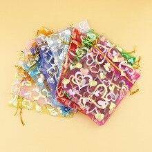 50 шт. сумки из органзы 4 размера на выбор Горячие 7*9 см/10*12 см/11*16 см/13*18 см сумки с принтом сердца Золотые струны красочные ювелирные изделия для хранения