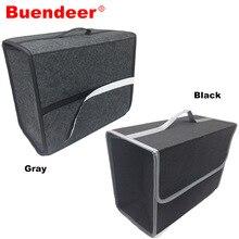 Buandeer 35x30x20 سنتيمتر سيارة جذع المنظم للطي حقيبة تخزين ذات سعة كبيرة عدم الانزلاق حريق سيارة جذع البقالة مقسم حقيبة رمادي/أسود