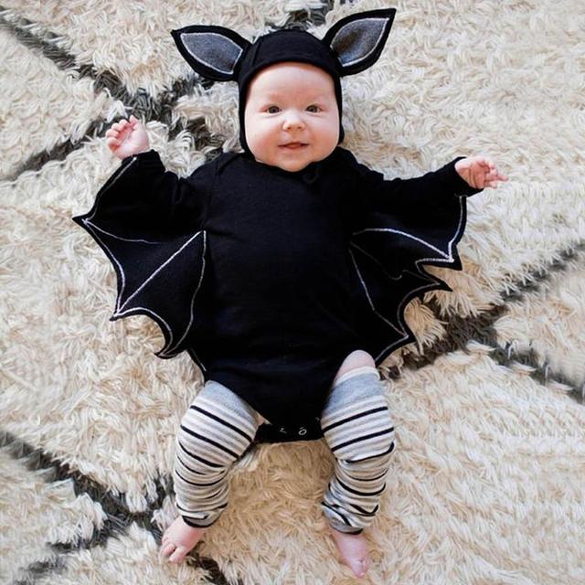2PC Set Bat Halloween Costume - Long Sleeved, Winged Romper + Hat