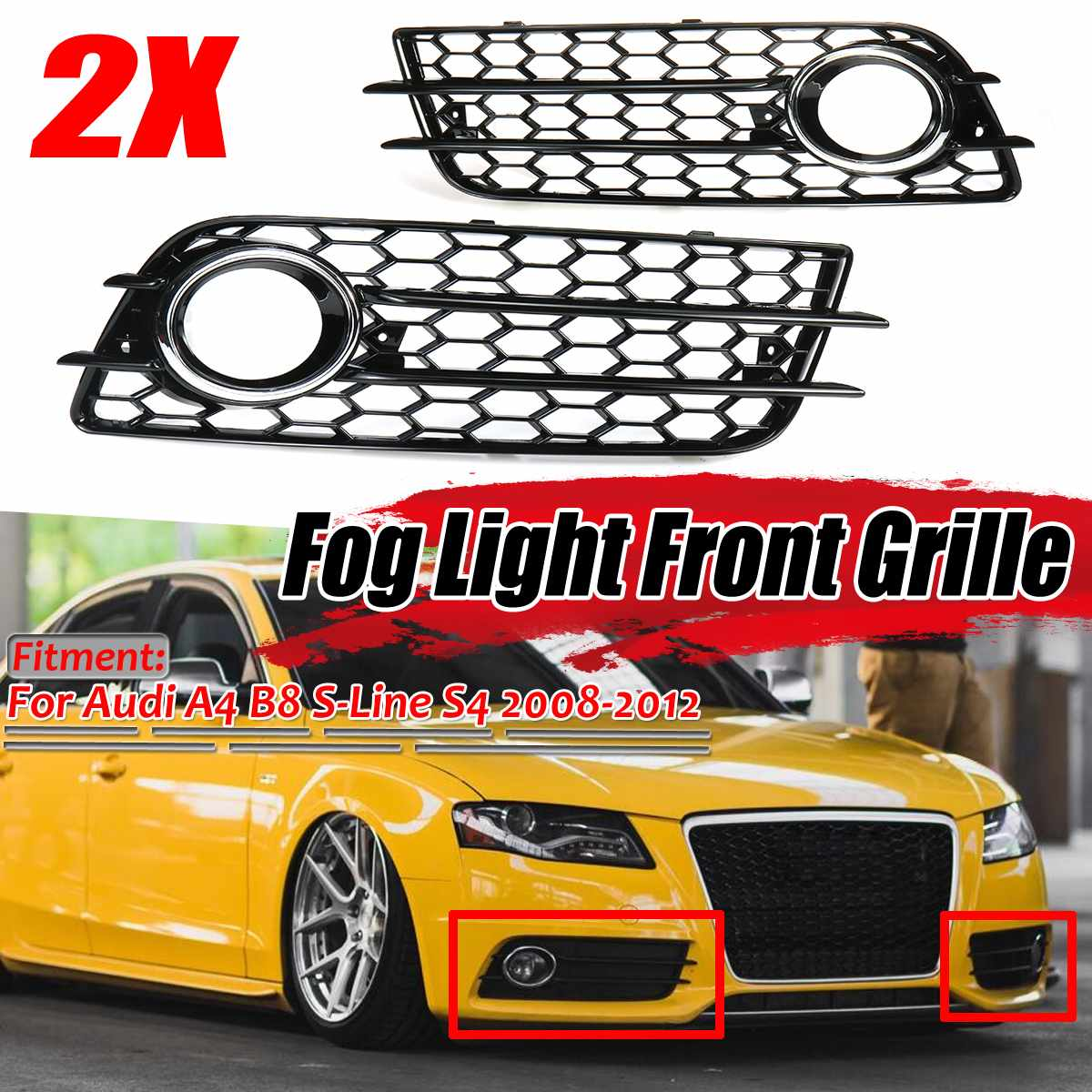 New 2x Car Front Fog Light Grille Cover Honeycomb Fog Lamp Grill For Audi A4 B8 S-Lines S4 Bumper 2008-12 8K0807681C 8K0807682C