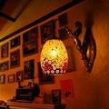 Тиффани красочные скандинавские винтажные железные хрустальные светодиодные настенные лампы в богемном стиле для спальни настенный свети...