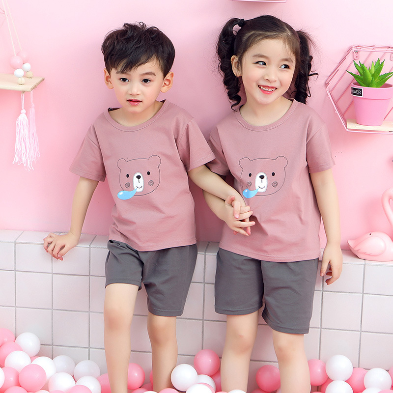 Summer Kids   Pajamas   Baby Boys Girls Clothing   Sets   Cartoon Short Sleeve T-Shirt+Shorts Kid Clothes Pijamas Children Sleepwear