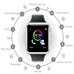 Image 1 - Montre Bracelet Bluetooth montre intelligente Sport podomètre Bracelet avec caméra SIM montre intelligente hommes femme pour Smartphone Android A1 1eh