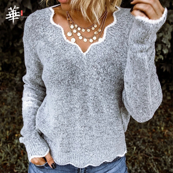 V-neck Autumn Knitting Sweater Pullover Women Long Sleeve Solid  Jumper Laides Sweaters and Pullovers Winter Knitted Femme bow knitted pullovers autumn winter women sweater jumper pullover sleeve long 2020 high elasticity fall sweater women pullover