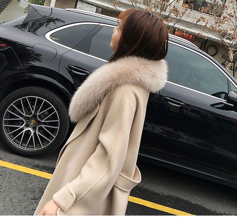 de raposa real oversize jaqueta de lã