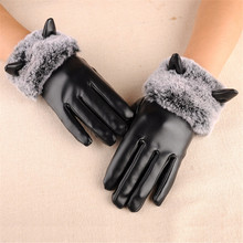 Fashion Korean women's autumn and winter warm touch pu leather gloves plus velvet windproof rabbit fur cute student gloves