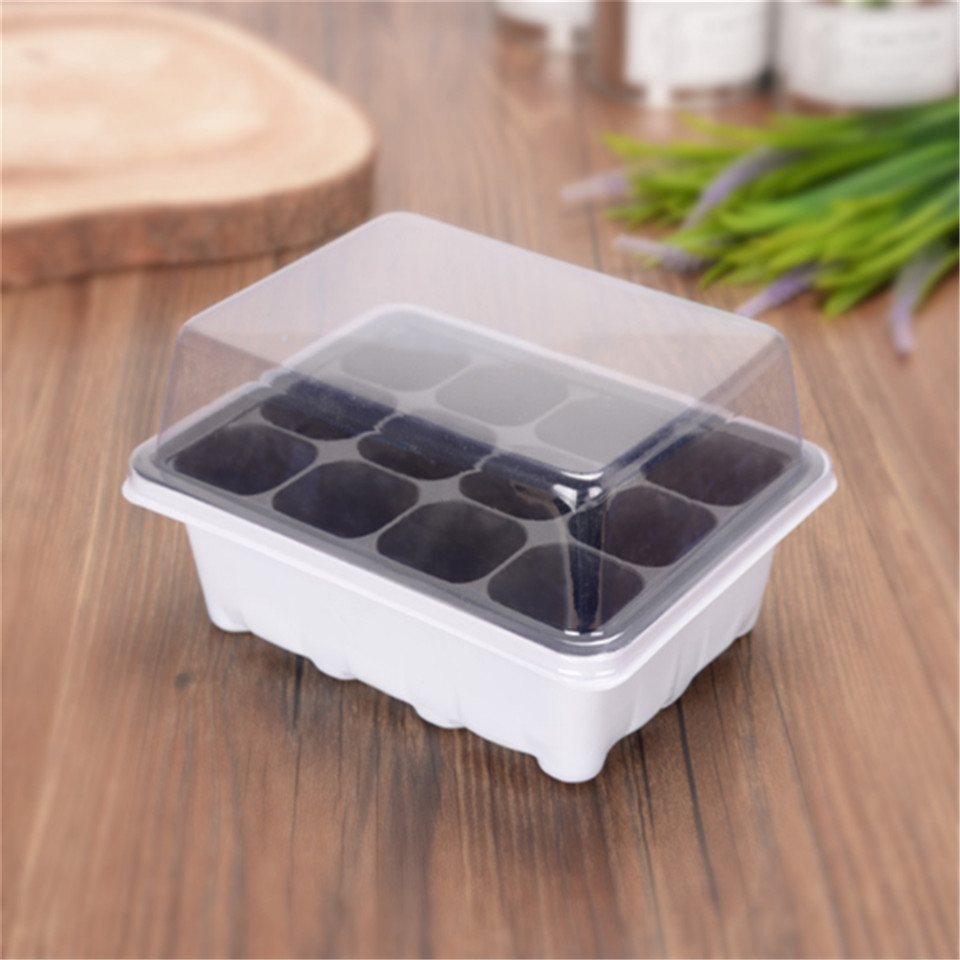 12 Cells Plant Seeds Germination Tray Nursery Pots Succulent Planter Flower Pot with Lids Hydroponic Grow Box Seedling Tray