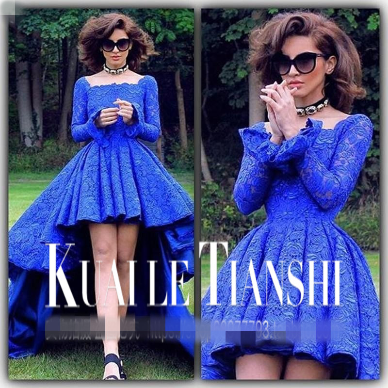 Royal Blue Short Prom Vestidos De Baile Sheer Top Party Gown Long Sleeve Backless Ball Gown Graduation Mother Of The Bride Dress