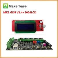 MKS GEN V1.4 motherboard + LCD2004 panel 2004 LCD display DIY beginer kit ramps 1.4 board mega2560 mainboard reprap Kossel kits
