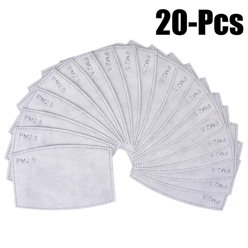 20Pcs Adults' Mask Filters Set Dustproof 5 Layers PM2.5 Fabric Activated Carbon Filters Mouth Cover Filters Mask Accessories