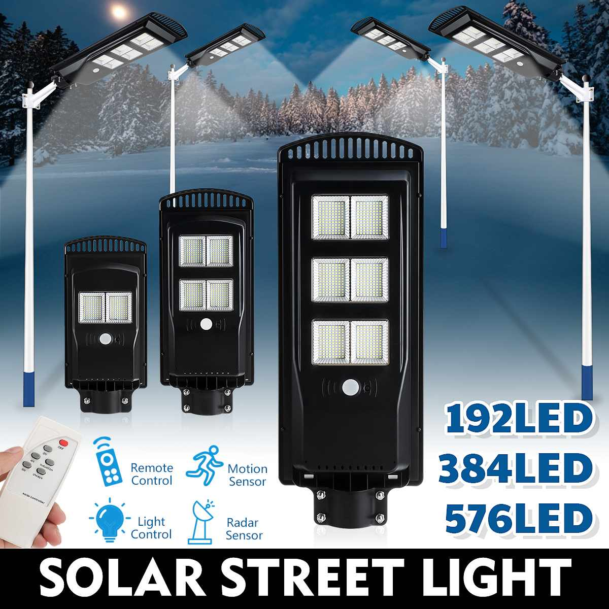 200W 300W 450W LED Solar Street Light with Remote Control PIR Motion Sensor Outdoor Garden Industrial Security Wall Lamp
