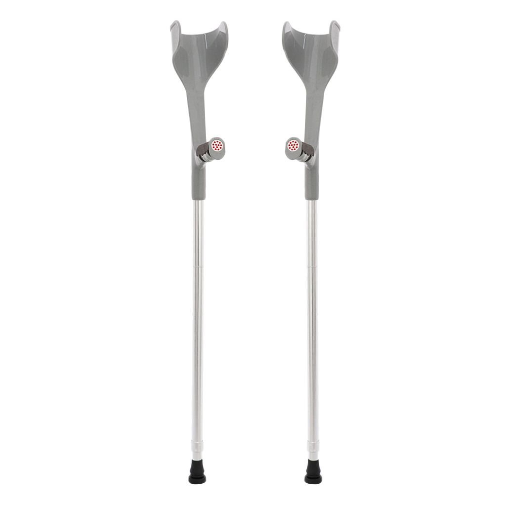 2pcs Premium Height Adjustable Lightweight Elbow Forearm Walking Crutches Gray