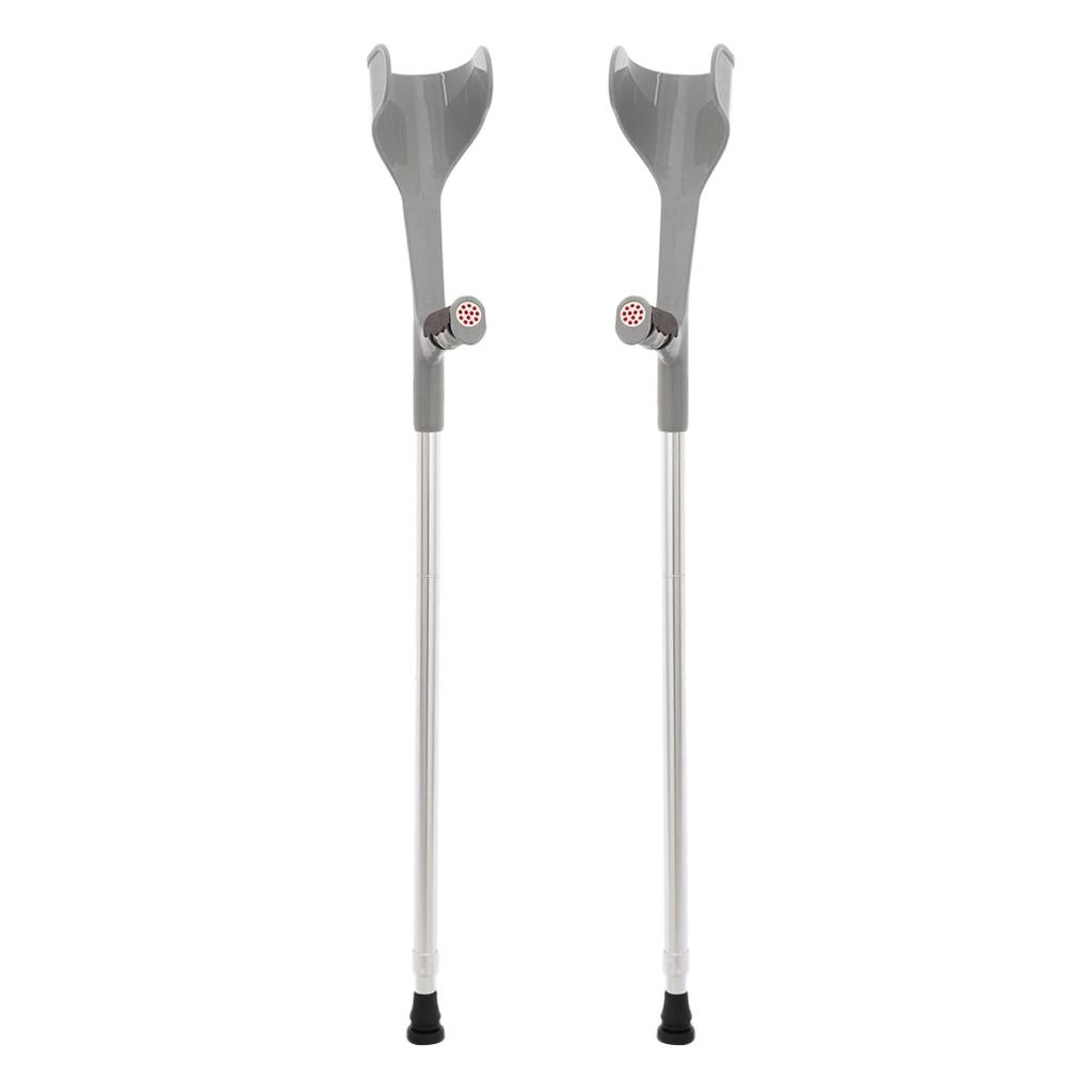 2pcs Premium Height Adjustable Lightweight Elbow Forearm Walking Crutches Gray