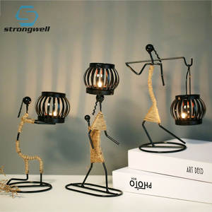Nordic Metal Decor Candle-Holder Sculpture Figurines Abstract-Character Gift Art Strongwell