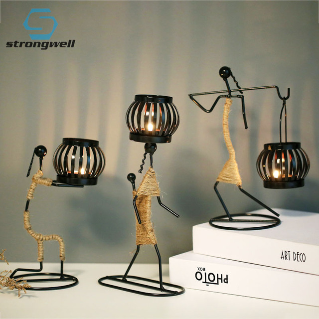 Strongwell Nordic Metal Candlestick Abstract Character Sculpture Candle Holder Decor Handmade Figurines Home Decoration Art Gift 1