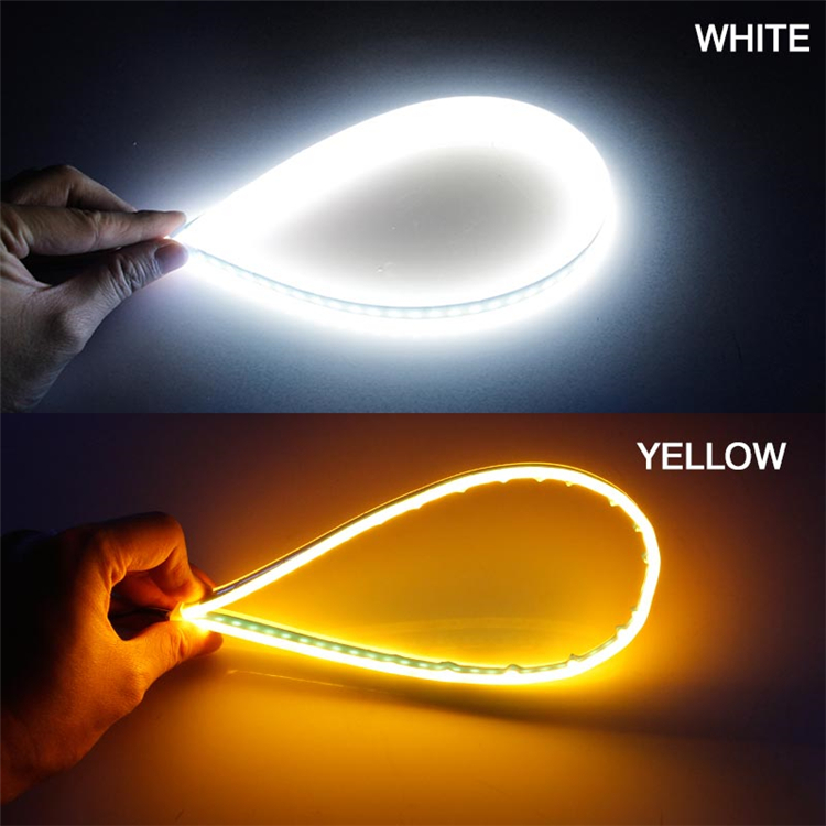 Hbace85793690417cbb8edc74058fd4faP OKEEN 2Pcs Slim Flexible DRL LED Knight Rider Strip Light For Headlight Sequential Flowing Amber Turn Signal Lights