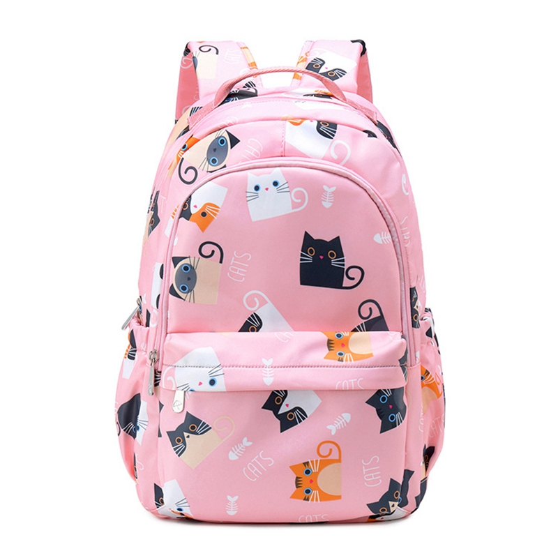 ABZC-Waterproof Kawaii Cat Printing Backpack Women School Students Backpack Female 15.6 Inch Laptop Cute Bookbag Girls