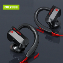 POLVCDG Black Sports Music Bluetooth Earphones Wireless Sweatproof Headset Stereo Earbuds with Microphone