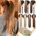 S-noilite Синтетические длинные волнистые заколки 23 дюйма хвост искусственные волосы конский хвост шиньон с заколками Женский удлинитель воло...