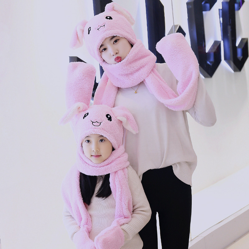 Fashion Cartoon Ear Moving Jumping Hats Airbag Pinching Bunny Ear Hat Female Plush Cute Rabbit Party Warm Winter Children Hat