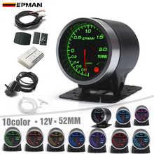 """EPMAN 2"""" 52mm 10 Color LED Backlights Smoke Face Bar Turbo Boost Gauge Meter w Sensor Mount Bracket Cup Holder EPXX707"""