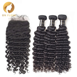 28 30 inch Deep Wave Bundles with Closure Human Hair 3 4 Curly Hair Extension Brazilian Water Wet and Wavy Weave with Hd lace