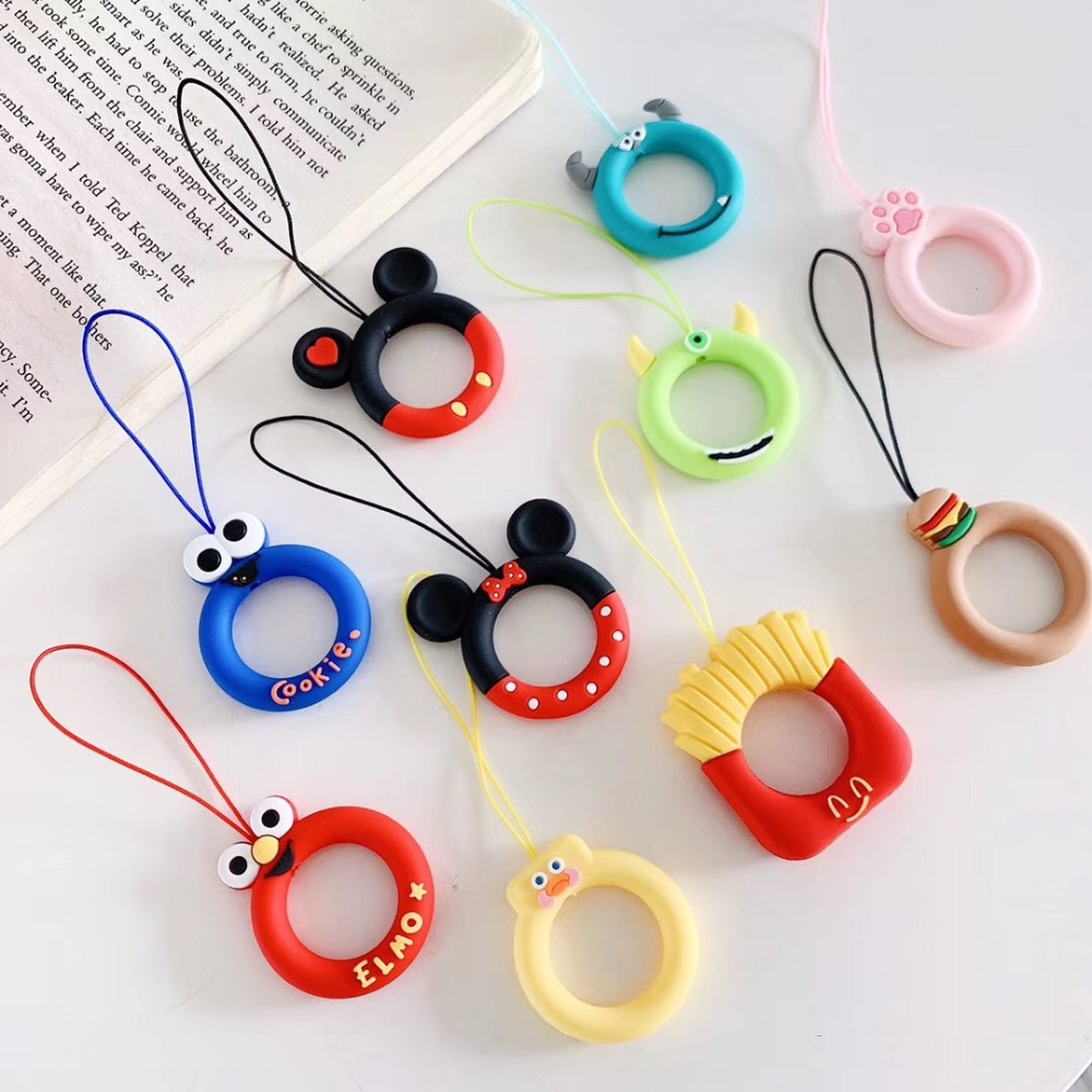 For Airpods Ring Strap Silicon Accessories Lovely Cartoon Universal For IPhone /redmi Mobile Phone Rope Lanyard Anti-drop Rope