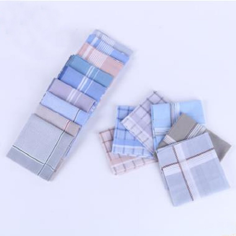 12 Pcs/lot 100% Cotton Light-colored Satin-trimmed Handkerchief Men Handkerchief Export Item 40cm*40cm