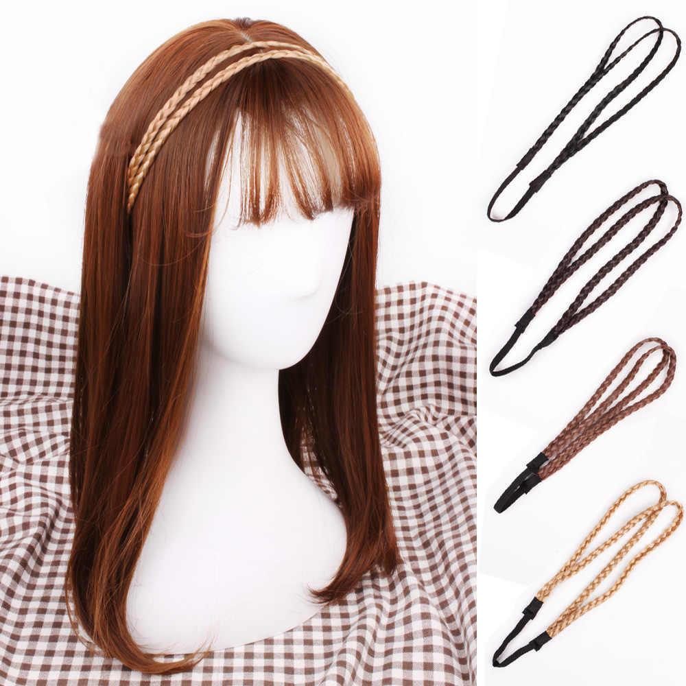 Синтетический парик, скрученные резинки для волос, модные косы, аксессуары для волос, Женская эластичная повязка на голову, Поп принцесса, стрейч-бандана