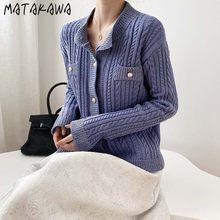 Matakawa elegante temperamento único breasted camisola feminina casaco 2020 outono vintage outer o-pescoço malhas cardigan