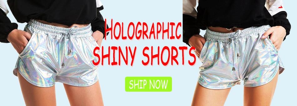 Women Shiny Metallic Hot Shorts 2019 Summer Holographic Wet Look Casual Elastic Drawstring Festival Rave Booty Shorts 15