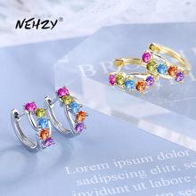 NEHZY925 – boucles d'oreilles en argent Sterling 2021 pour femmes, bijoux tendance de haute qualité, couleur cristal Zircon, or, argent, nouvelle collection
