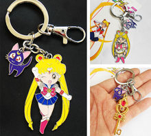 Janpanese Anime Sailor Moon Luna Cat Figura Metal Keychain do Anel Chave Do Presente 3 Estilos Adereços Traje(China)