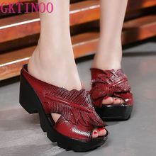 New Ethnic Style Genuine Leather Women Shoes Sandals wedges Slides Handmade Flower Women Summer Slipper wedges slippers women 2018 slides sandals shoes women genuine leather closed toe handmade comfortable women flat shoes