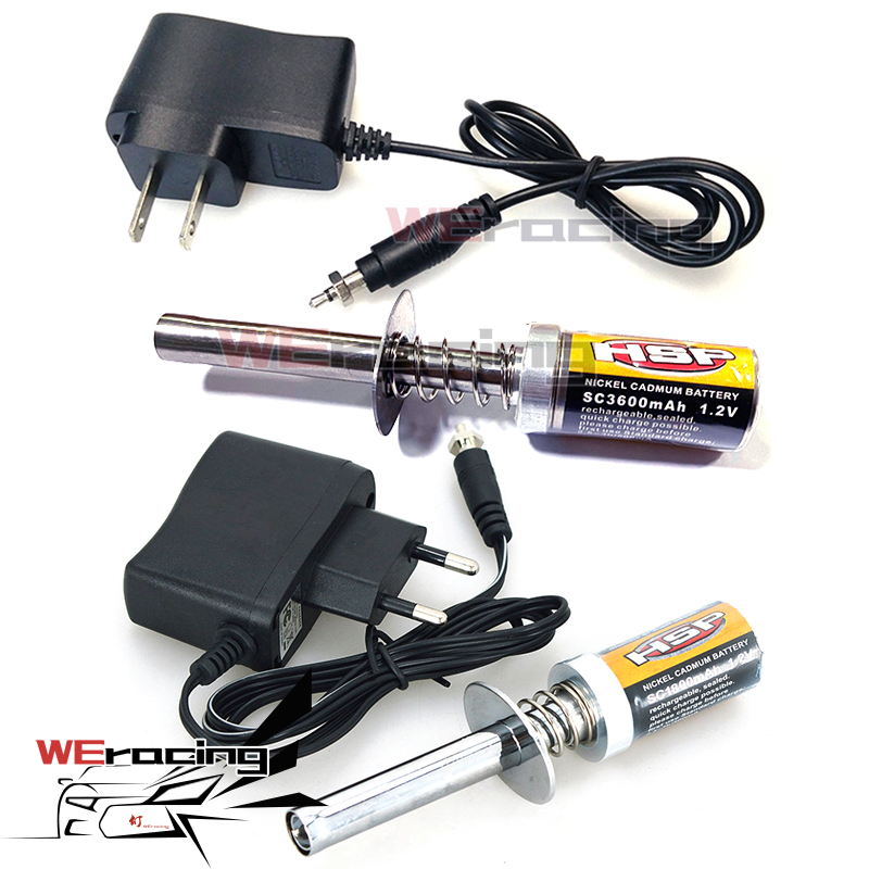 HSP Gas RC Nitro Engine Motor Glow 1.2V 1800MA 3600MA RECHARGEABLE GLOW PLUG Starter Igniter AC Charger For RC 1/8 1/10 Car F122