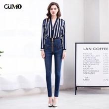 2019 new autumn large zipper straps abdomen high waist jeans stretch size feet pants Slim pencil S-6XL