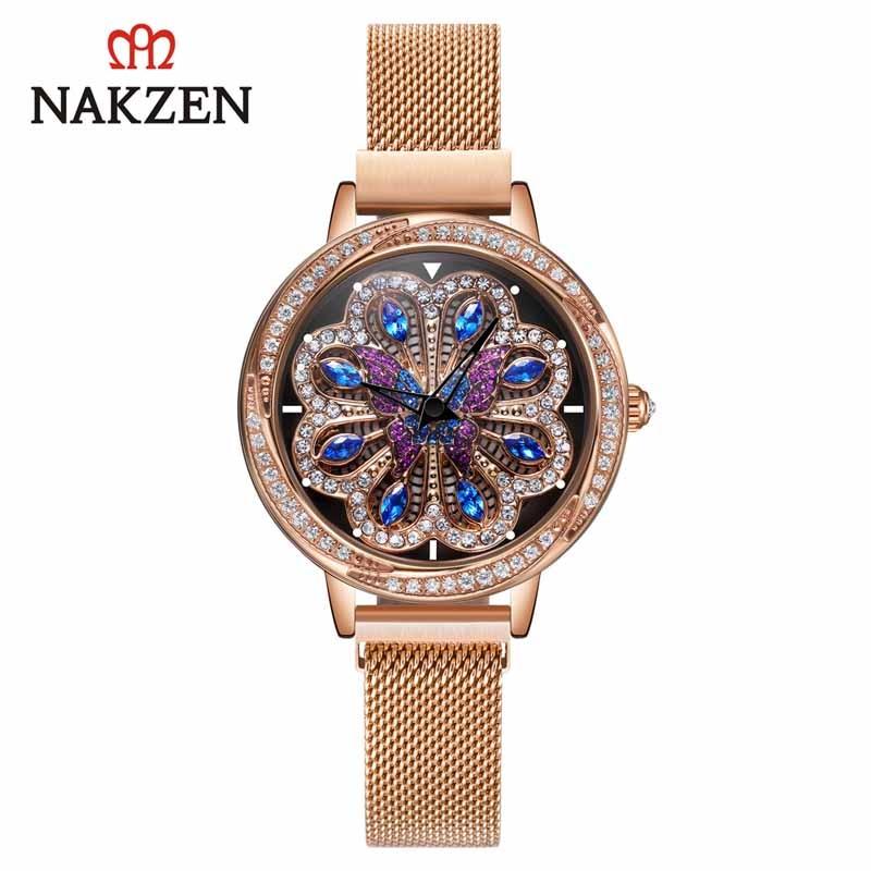 NAKZEN Top Brand Fashion Watch Women Luxury Quartz Wrist Watches Stainless Steel Clock Life Waterproof Montre Femme Reloj Mujer