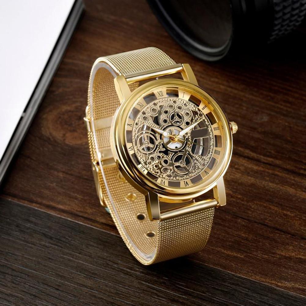 Fashion Men Mechanical Skeleton Analog Clock Men's Luxury Stainless Steel Mesh Band Quartz Wrist Watch Gift Relogio Feminino