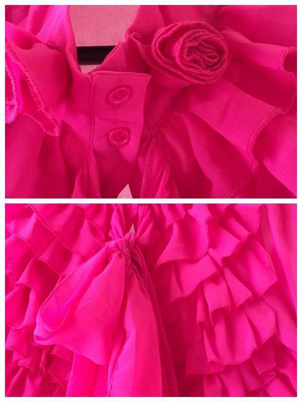 חולצה נשים 2019 קיץ רגיל Falbala ארוך שרוול ורוד ראפלס חולצות חולצה נשי בתוספת גודל משרד ליידי OL אלגנטי ליידי חולצות