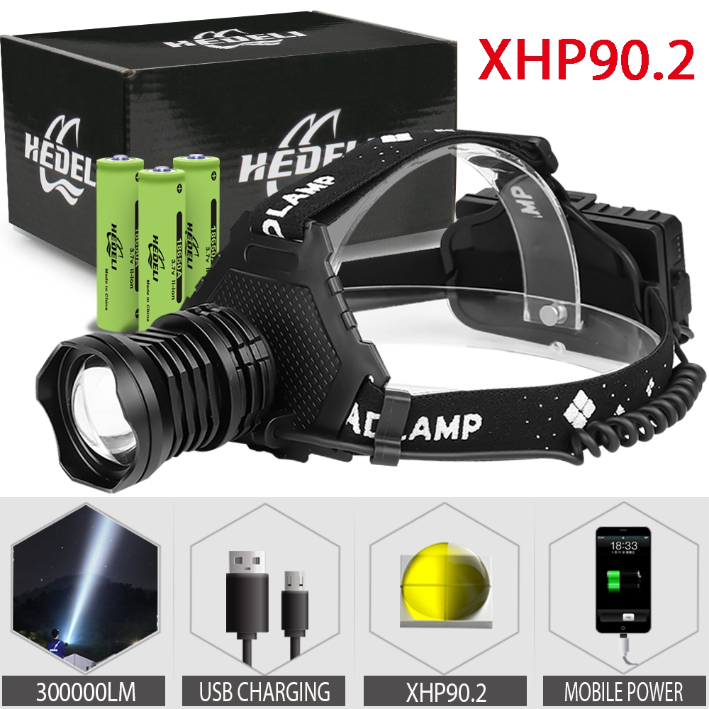 300000 Lm Xhp90.2 Led Head Lamp Xhp90 High Power Headlamp Torch Usb 18650 Rechargeable Xhp70 Headlight Xhp50.2 Zoom Head Light