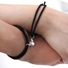 Pulseira magnética de aço inoxidável amor coração pingente charme casal pulseiras para amante amigo trança corda pulseiras ímã jóias
