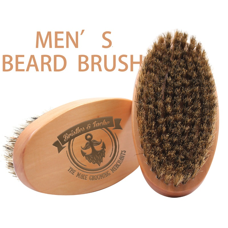 Universal Men Boar Hair Bristle Beard Mustache Brush Hard Wood Oval Handle Comb For Clearing Residue Smoothing Styling G0118