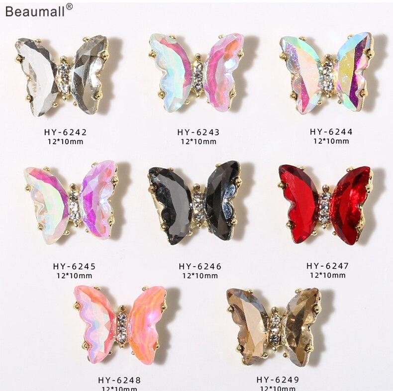 10 шт./лот, элегантная бабочка, 3d дизайн ногтей, золотой сплав с кристаллами, стразами, украшения для ногтей