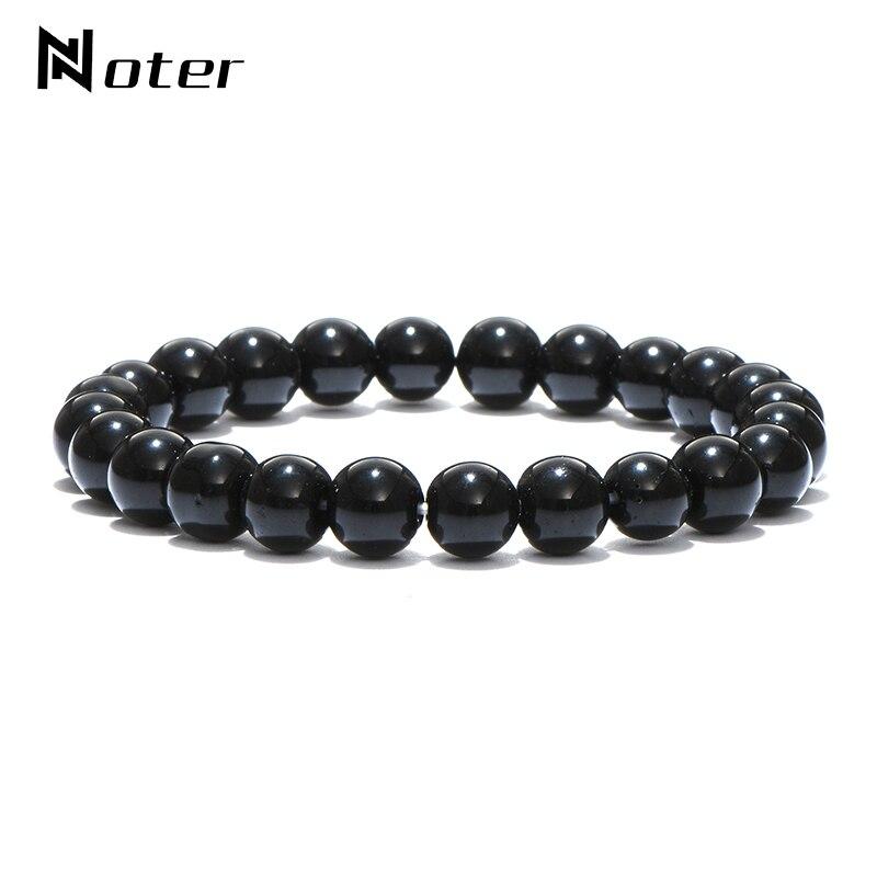 Minimalist Natural Black Obsidian Bracelet Men 4mm 6mm 8mm 10mm 12mm Beaded Charm Brazalete Hombre Yoga Jewelry Armband Pulseras
